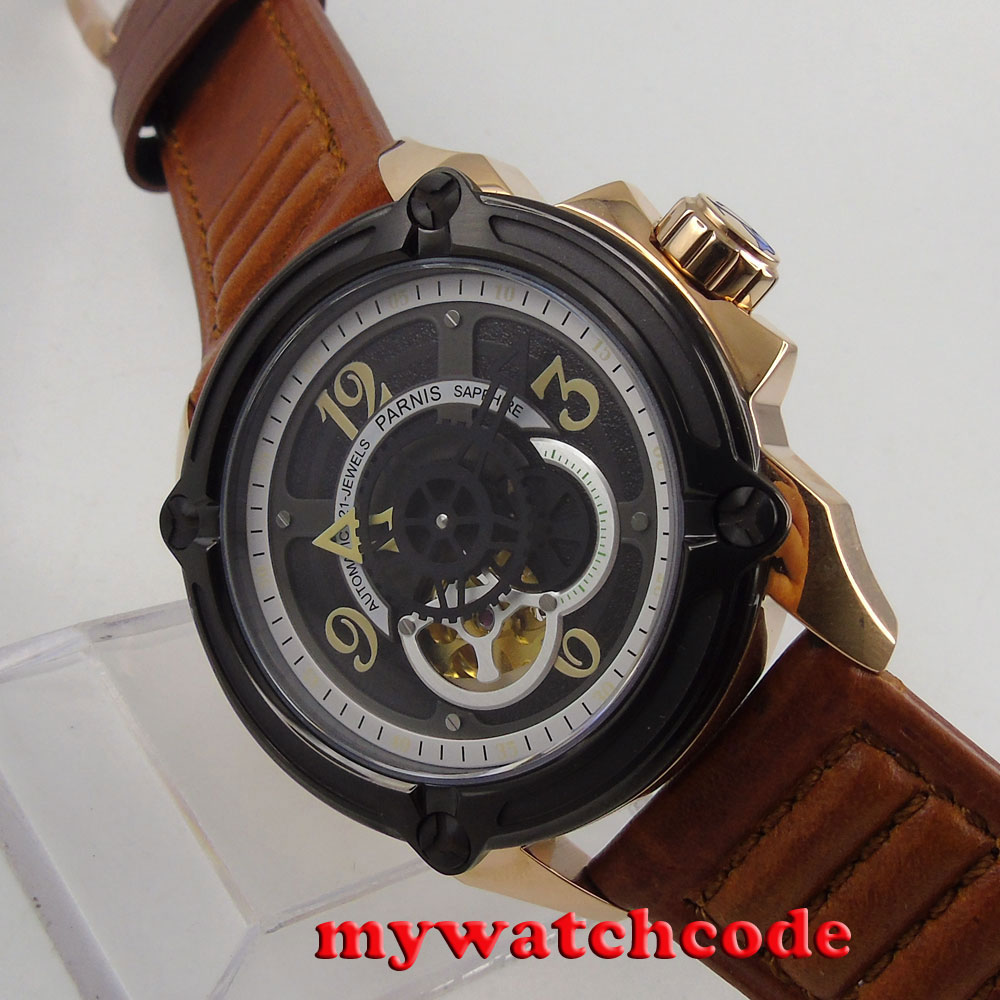 44mm Parnis black dial PVD miyota movement Sapphire Glass automatic mens Watch цена и фото