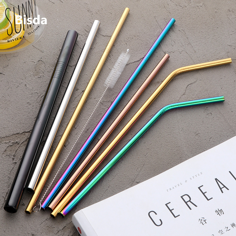 100pcs Stainless Steel Drinking Straw Wholesale Reusable Straw Gold Metal Straws Food Grade Juicy Party Straws