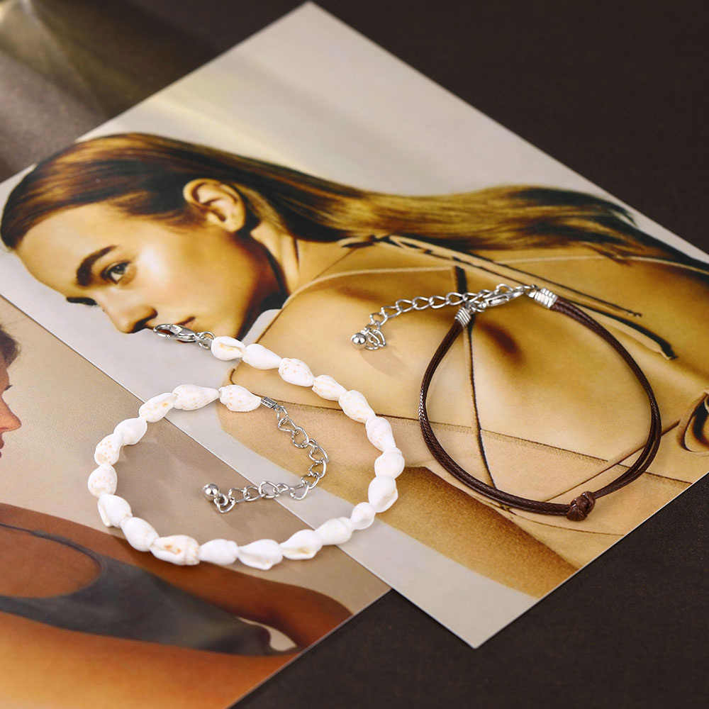 2 sztuk/zestaw obrączki dla kobiet powłoki biżuteria na stopy lato plaża boso bransoletka kostki na nogi kobiece skórzane Anklet Boho leg Chain