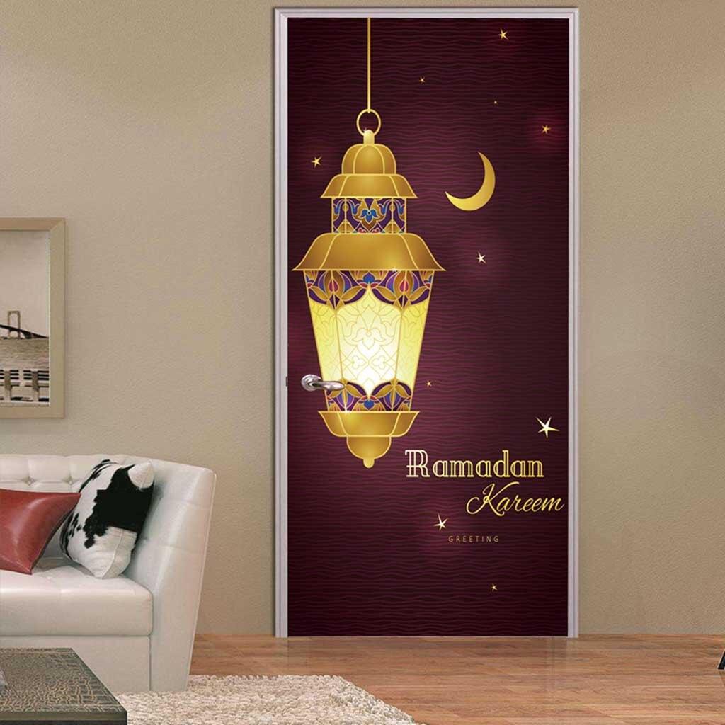 2Pcs Muslim Eid Mubarak Big Classic Prayer Lamp Door Sticker Family Decoration Easter Culture Ramadan Kareem Room Door Decals Door Stickers     - title=