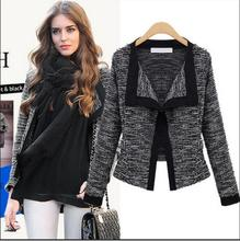 Slim Long Sleeve Short Style Spring Autumn V-neck Open Stitch Knit Cotton Women Outerwear  Coats Lady Basic Jackets