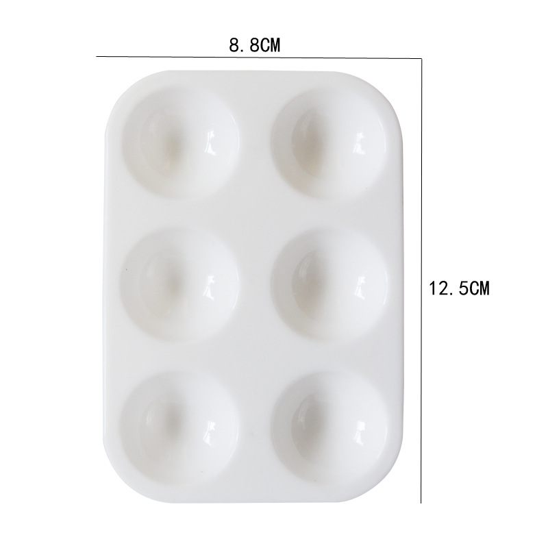 6 Hole Plastic Pp Material Rectangular Art Painting Palette White Thickening Children Simple Color Supplies Painting Basic 1 Pcs