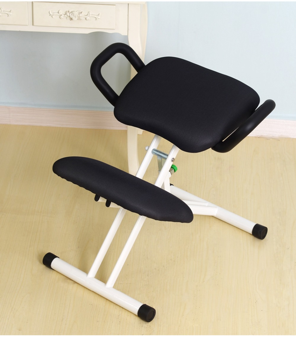 Ergonomically Designed Kneeling Chair With Handle Height Adjust Office Knee Study Chair Ergonomic Correct Posture Chair White