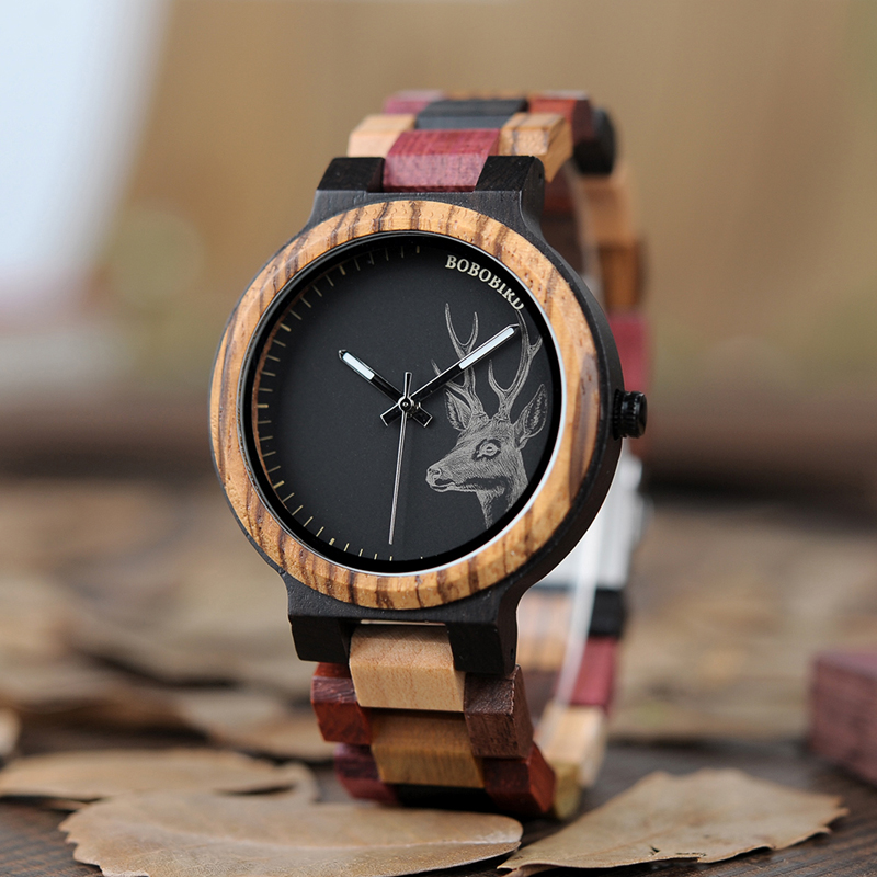 BOBO BIRD New Arrivals Bamboo Wooden Watches Men Elk Wrist Watch Deer Quartz Clock male Gift in Wood Box bobo bird wh05 brand design classic ebony wooden mens watch full wood strap quartz watches lightweight gift for men in wood box