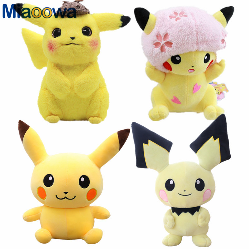 28cm Detective Pikachu Plush Toy Cute Anime Plush Doll Children's Gift Toy Kids Cartoon Peluche Pikachu Japan Anime Game Toys