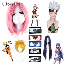Coshome Naruto Wigs Kakashi Hinata Sakura Cosplay Costume White Yellow Pink Black Wig With Headbands