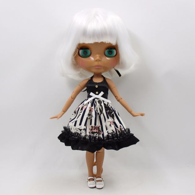 TBL Neo Blythe Doll White Bob Hair Dark Skin Jointed Body
