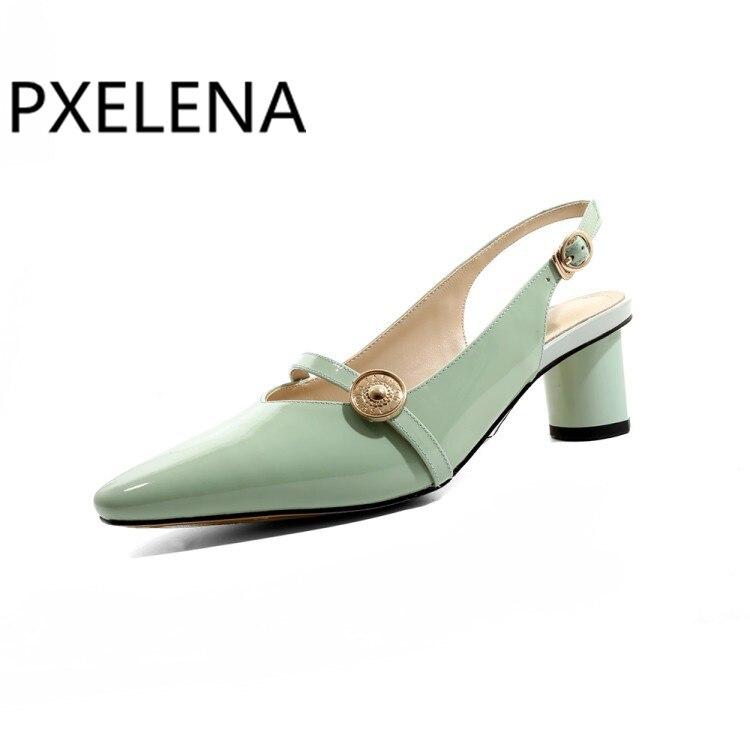 amarillo Real Sandalias verde De Las Fruta Vestido Tamaño Tacones Pxelena Genuino Color Más Negro La Cuero Fiesta Mujeres Patente Mujer Extraño Zapatos xqpvq01wR