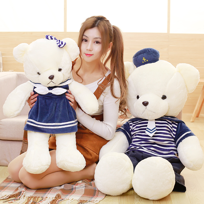 Candice guo plush toy stuffed doll cartoon animal navy marines sea army ted bear lover teddy baby birthday Christmas gift 70cm candice guo plush toy stuffed doll cartoon animal captain teddy bear ted airline stewardess pilot airman flyer birthday gift 1pc