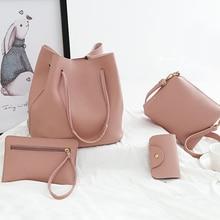 2018 New Women Bags Set 4 Pcs PU Leather Handbag Women Large Tote Shoulder Bag Handbag+Messenger Bag+Purse+Card Bag bolsas