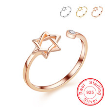 Купить с кэшбэком Beautiful Hollow Star of David engagement 925 Sterling silver ring gold Fashion Charms jewellery open rings for women VCYE127