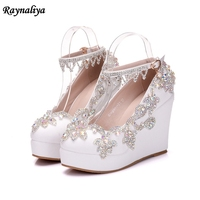 Elegant Woman Wedges High Heels With Rhinestones Bridal Wedding Prom Mother Shoes White Ankle Strap Handmade Pumps XY B0050