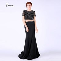 Two Pieces Elegant Black Mother Of The Bride Dresses 2016 Beading Short Sleeve Mermaid Mother Formal