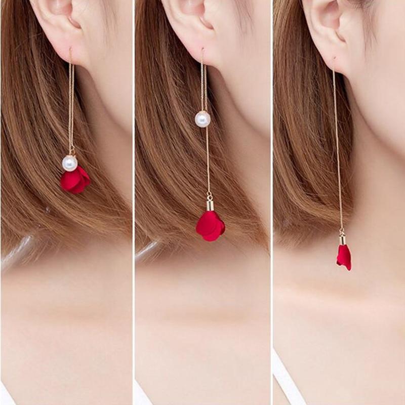 New 8 Colors Flower Long Tassel Earrings for Women Fashion Imitation Pearl Earrings Ear Line Elegant Wedding Party Jewelry Gift