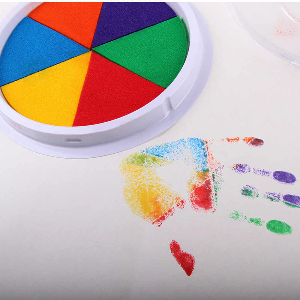 6 Colors DIY Stamp Finger Painting Craft Cardmaking Handprint mud For Kids Children's colorful finger painting ink washed