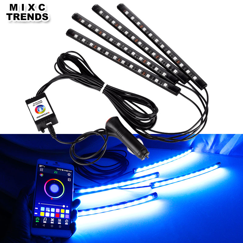 12LED Flexible Car RGB LED Strip Light Bluetooth Phone APP Control Atmosphere Lamp Musice Voice Decorative Car Interior Light app control car interior rgb strip light atmosphere lamp for volkswagen polo gti polo r wrc scirocco r tiguan touareg up xl1