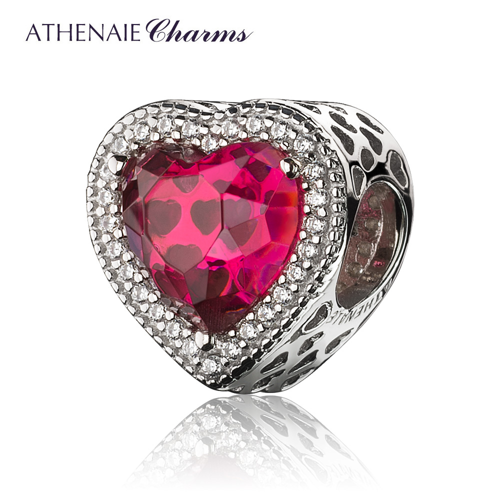 ATHENAIE 4 Colors 925 Sterling Silver with Pave CZ & Rose Red Heart Shaped Openwork Charm Beads Color Blue