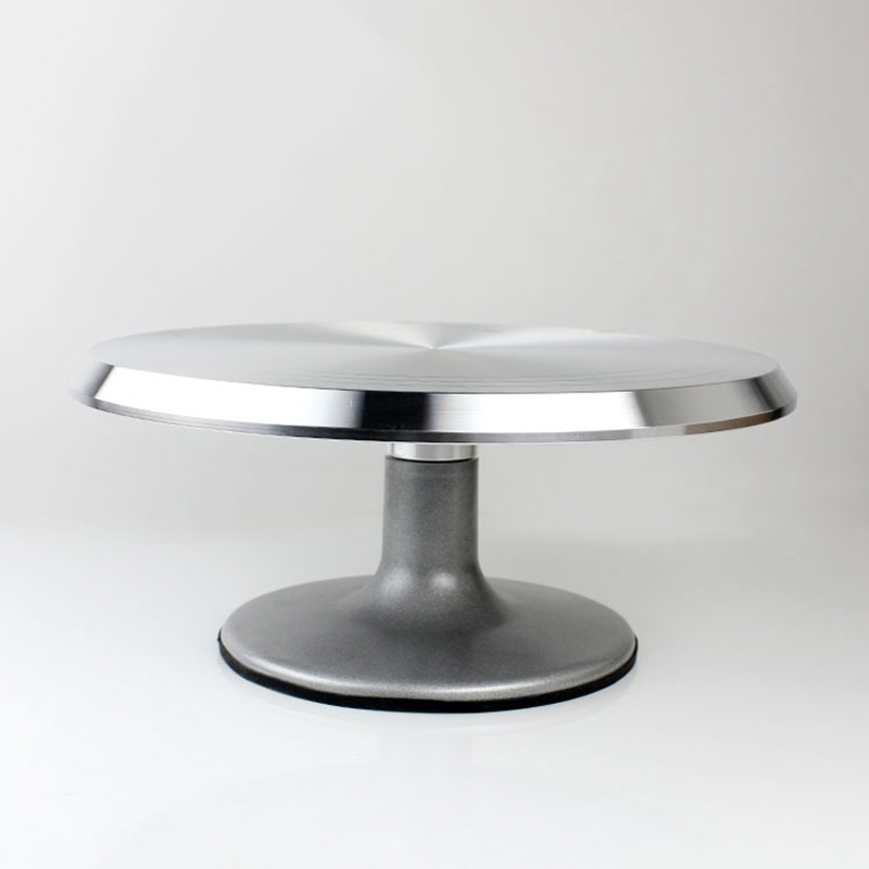 Baking Tool Alloy Mounted Cream Cake Turntable Rotating Table Stand Base Turn Around Decorating Silver Metal
