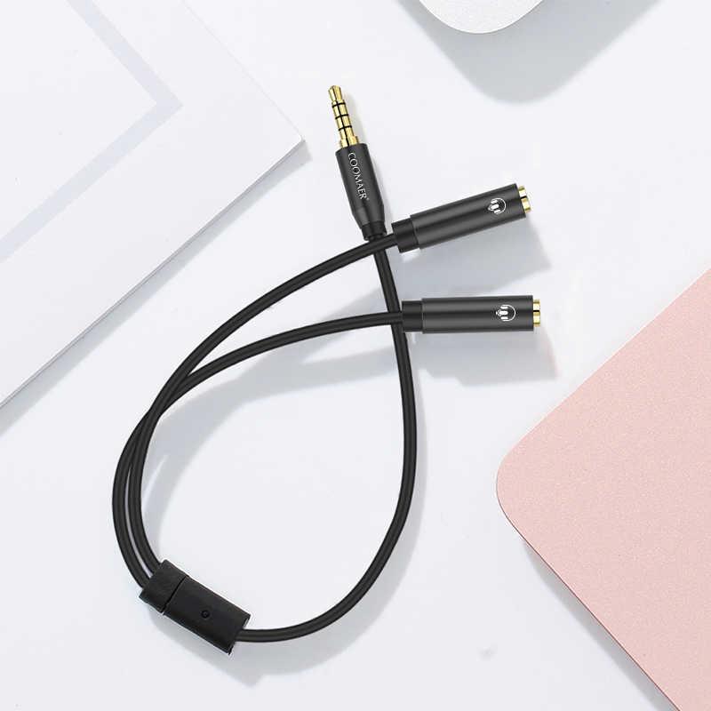 שקע 3.5mm אוזניות ספליטר תומך שני אוזניות מיקרופון 3.5mm 1 זכר 2 נקבה אוזניות אודיו ספליטר מתאם