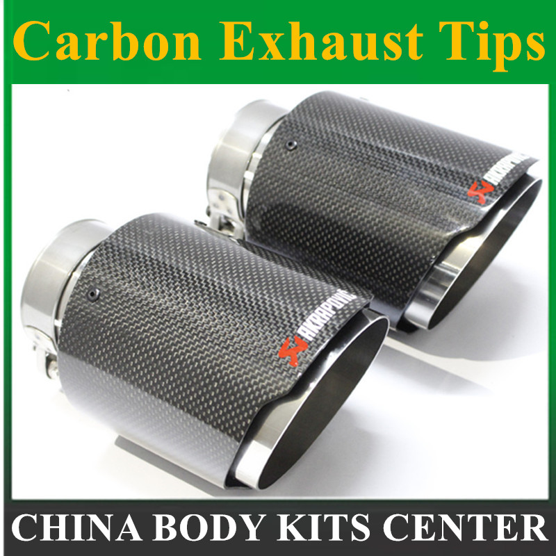 2 PCS IN63mm OUT101mm NEW Model Akrapovic Glossy Carbon Fiber Stainless Steel For AK Car Carbon