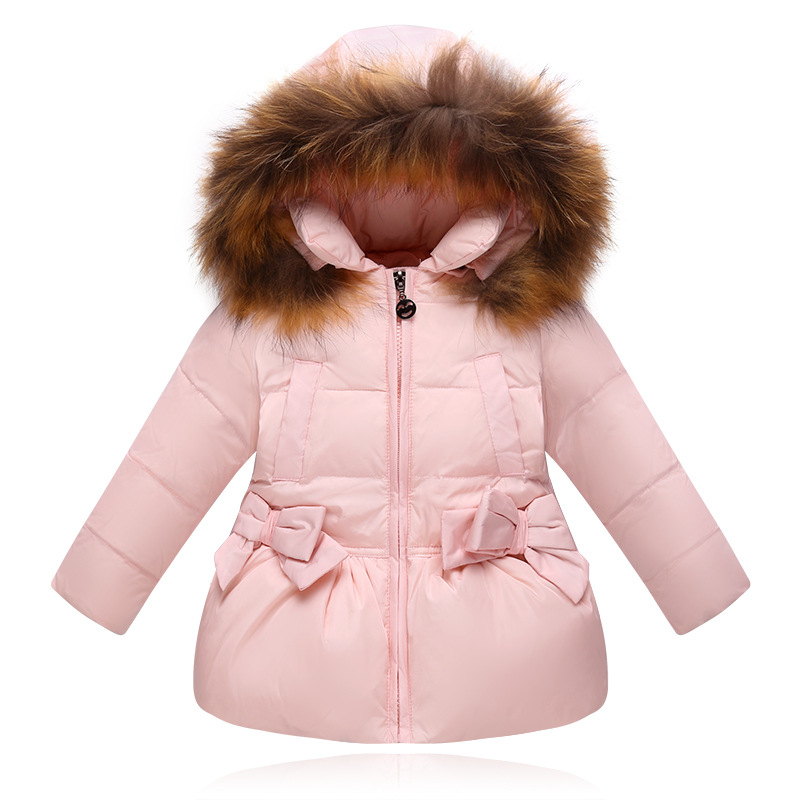 Winter Down Jacket For Girls Kids Clothes Children Thicken Coats Duck Down Jackets Girls Hooded Bow Snowsuits Natural Fur Coat 3 colors fur hooded children down coats girls winter long jackets kids clothes fashion child warm jacket for girls coat 6 8 10 y