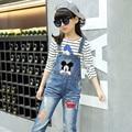 Denim Overalls For Girls Denim Pants For Girls High Quality Denim Jumpsuit Mickey Children Jeans autumn Teenage Girls Clothes
