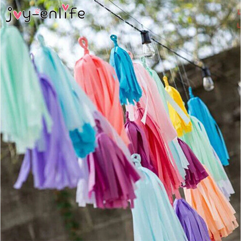JOY-ENLIFE Wedding Decoration 5pcs Tissue Paper Tassel Garland Balloon Ribbon DIY Paper Flowers Baby Shower Birthday Party Decor