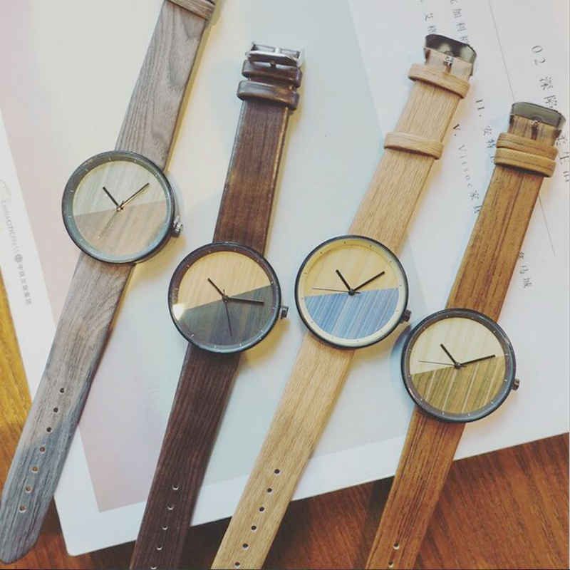 Relogio Masculino Retro Vintage Wood Watch Men Women Casual Analog Quartz Grain Leather Wrist Watches Sport Watch 2017 newest bamboo wood watches for men and women fashion casual leather strap wrist watch male relogio