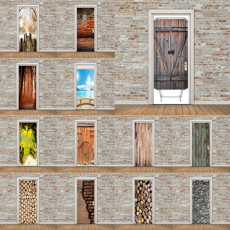 Self Adhesive Decal PVC Waterproof Sea Wood Tree View Art Home Decor DIY Living Room 3D Print Sticker Suit For Steel Door Paper