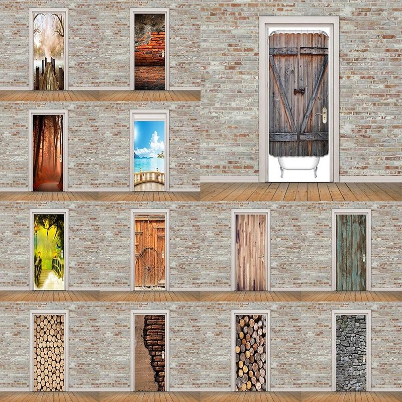 Self Adhesive Decal PVC Waterproof Sea Wood Tree View Art Home Decor DIY Living Room 3D Print Sticker Suit for Steel Door Paper