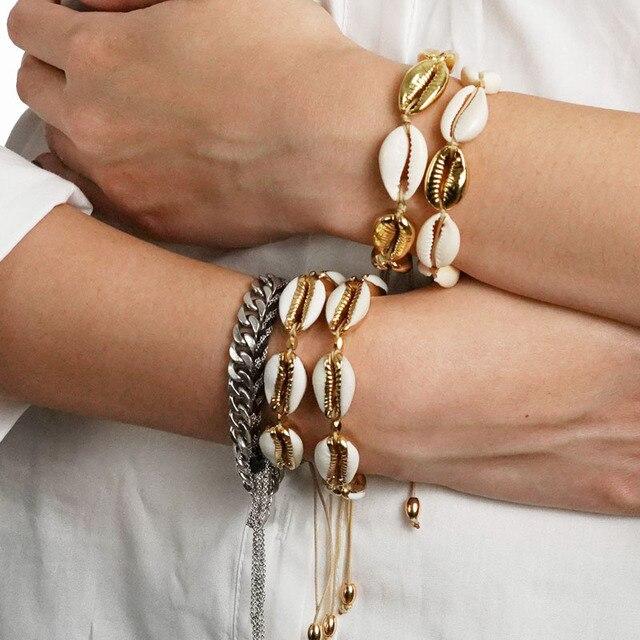 זהב צבע Cowrie מעטפת צמידי עבור נשים עדין חבל שרשרת צמיד חרוזים קסם צמיד בוהמי חוף תכשיטים