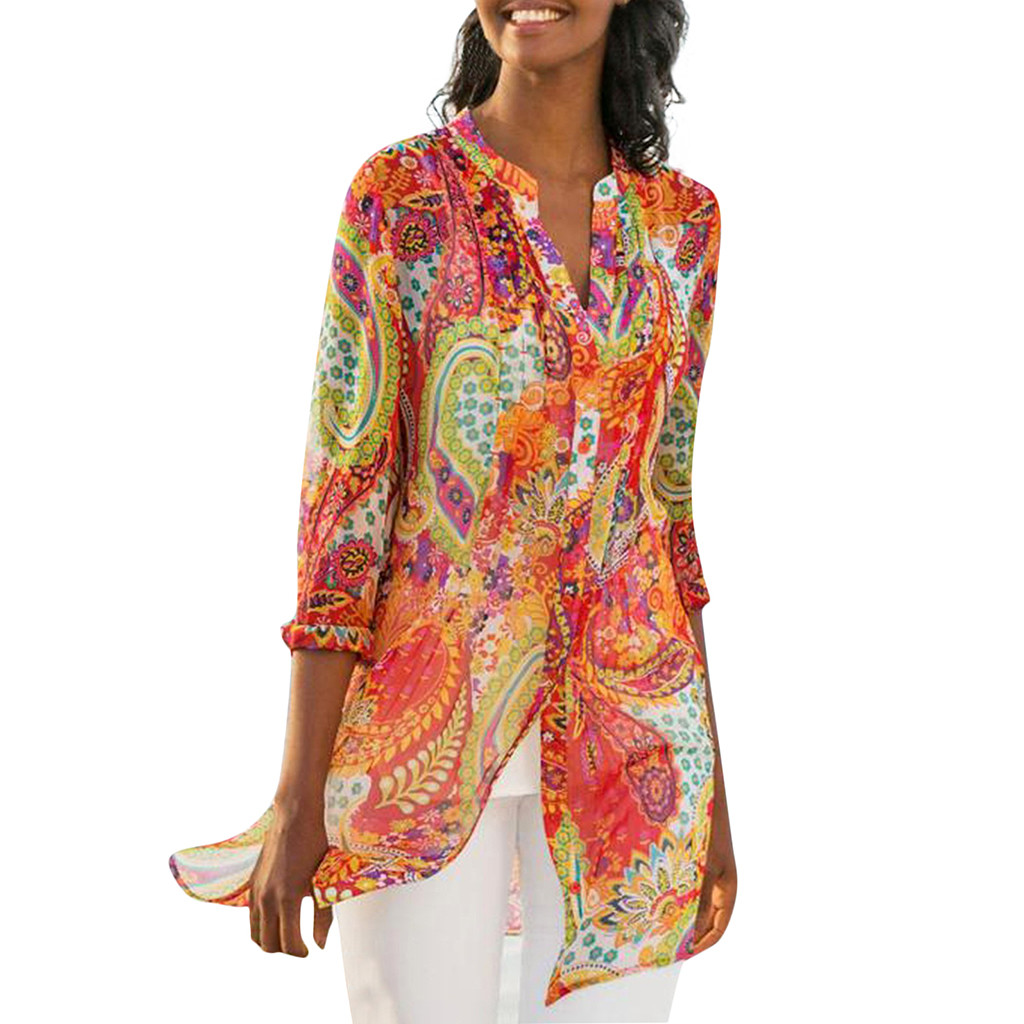Multicolor Aesthetic Clothes Women Casual Plus Size Retro Boho Print Splice Loose Daily Clothes Beach Shirt Tops Cardigan Women