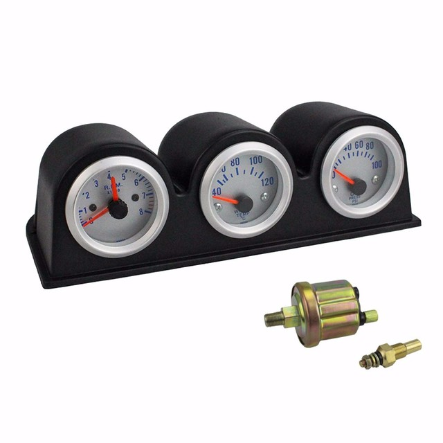 2inch 52MM Triple Gauge Tachometer RPM+water temp gauge+Oil press Pressure Gauge car meter Water Temperature auto Gauge YC100651