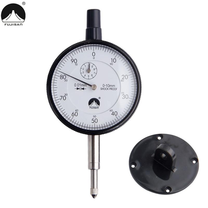 FUJISAN Dial Indicator 0-10mm/0.01mm Dial Gauge Shockproof Test Indicators Measuring Tools 100% original japan mitutoyo 513 475e dial indicator 0 0 2mm 0 002mm dial test gauge micrometer measuring tools