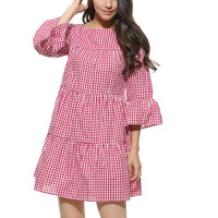 Wonder Beauty Women Oversized Pleated Plaid Dress Summer Elegant Checkered Flare Sleeve Loose Casual Vestido De