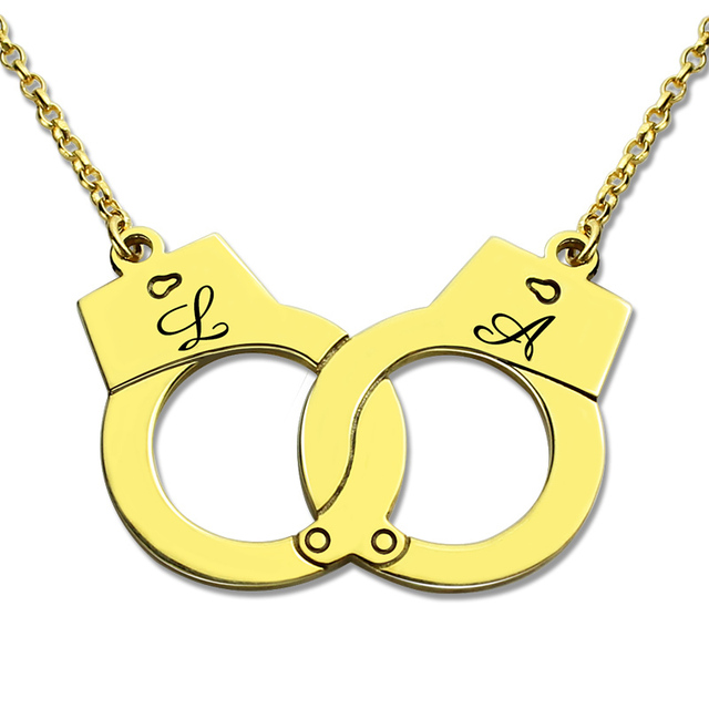 Gold Farbe Handschellen Halskette Personalisierte Initialen Charme ...