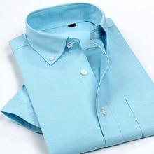 2017 Men's Oxford shirt short sleeve summer slim Classic Men's shirt business Casual chemise homme Solid Color & plaid Shirt