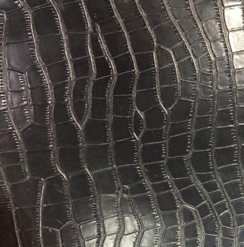 Nero Genuino spaccato della mucca pelle di coccodrillo goffrato vendita da tutto il pezzo - 2