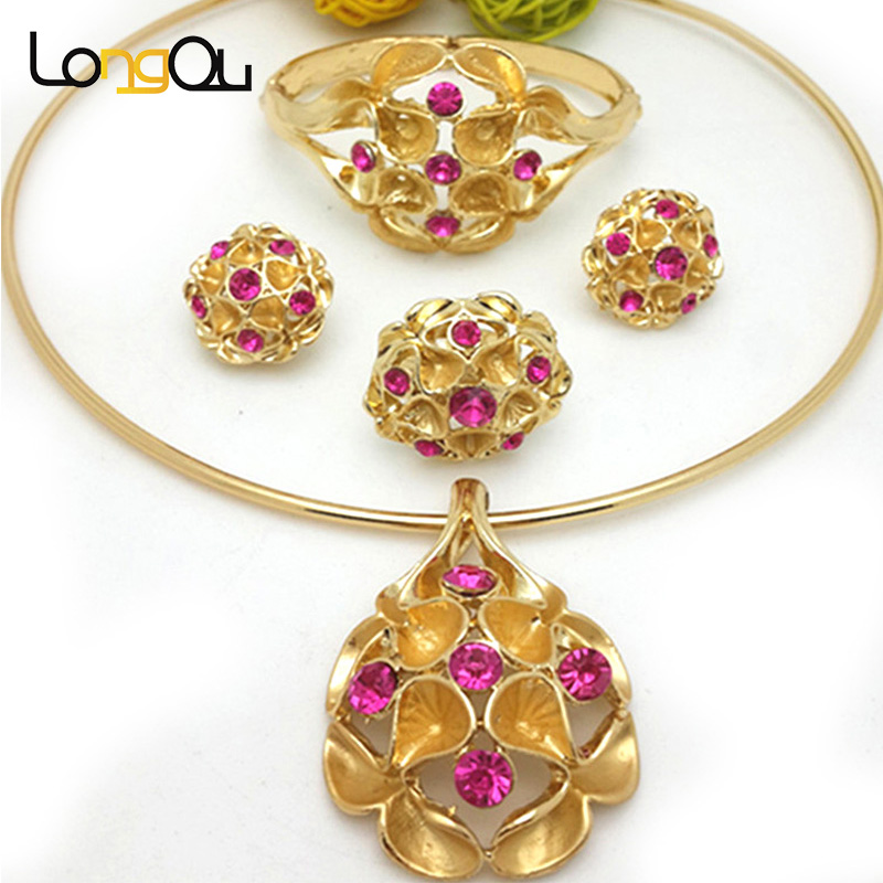 Decoration African Wedding Jewelry Sets Goldcolor Jewelry Set Big Earring Necklace Bracelets Bangles Sets