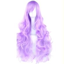 Soowee 20 Colors Long Women Wigs Synthetic Hair Heat Resistant Purple Black Curly Cosplay Wig Party Hair