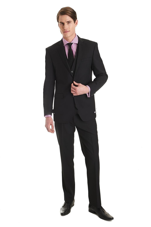 New Arrival Two Buttons Black Groom Tuxedos Best Man Notch Lapel Groomsmen Men Wedding Suits Bridegroom (Jacket+Pants+Vest)