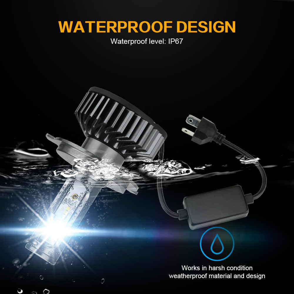 Zdatt H7 LED H4 H1 LED H11 H8 9005 9006 H9 HB3 Canbus Headlight Bulb Car Light 12000LM 100W 6000K 12V Auto Lamp No Radio Noise