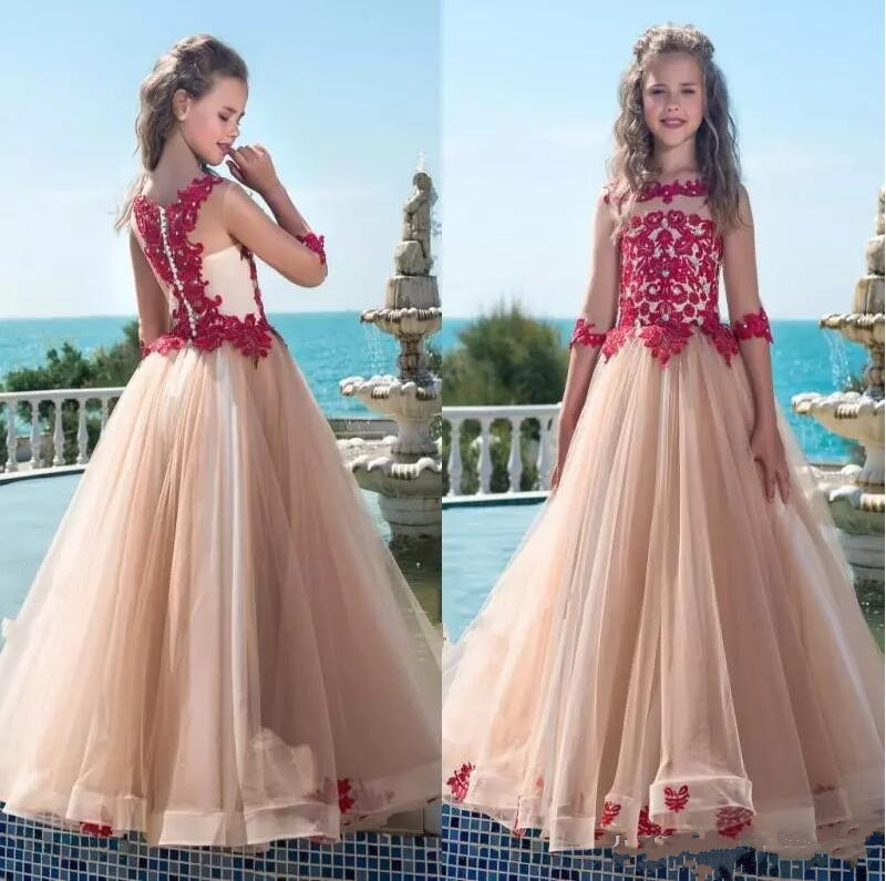 New Champagne Tulle Red Lace Flower Girls Dresses Sheer Crew Neck Illusion Half Sleeves Girls Pageant Dresses Birthday Gown
