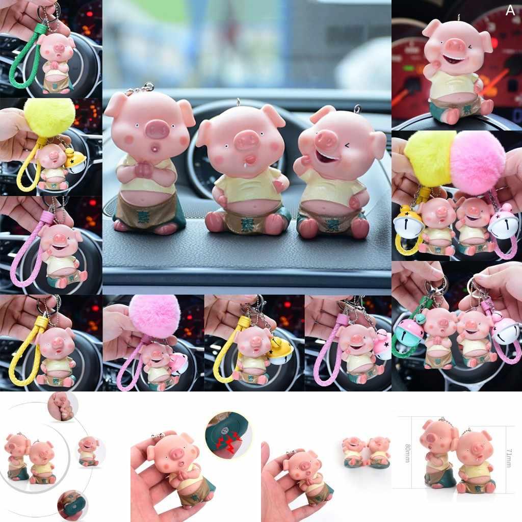 12 รูปแบบ 2019 ปีหมู Key CHAIN 3D เสียง Cartoon Lucky Pig ของเล่น LOVELY Key แหวนจี้สำหรับรถกระเป๋าตกแต่งเด็ก
