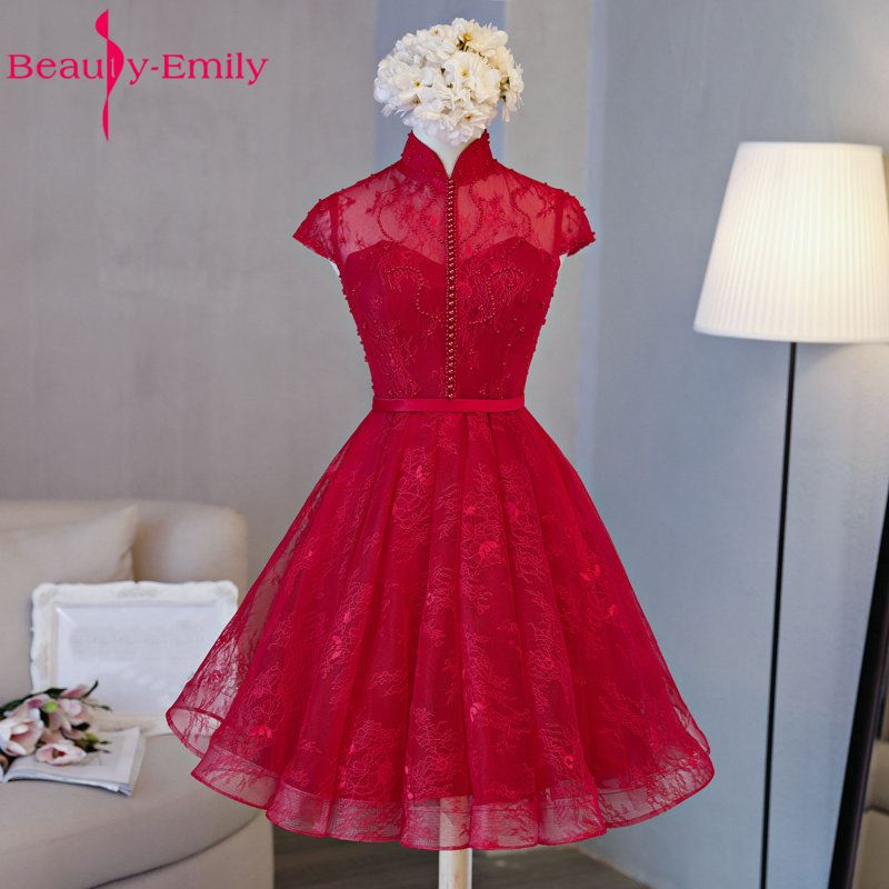 Beauty-Emily Luxury Burgundy Lace   Prom     dresses   2018 Sexy Boat-Neck Pearls Lace-Up Beading Evening Party Gowns Graduation   Dress