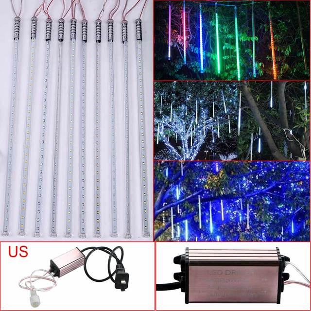 10 Unids Decorativo Impermeable lluvia de Meteoros Lluvia Tube 2835 LED Cadena de Luz W/EE. UU. Set patio jardín escaleras pasillos