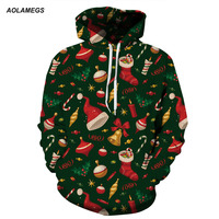 Aolamegs Men Women Hoodies Christmas Couples Sweatshirts 3D Printing Hooded Funny Pullovers Santa Claus Christmas Clothes