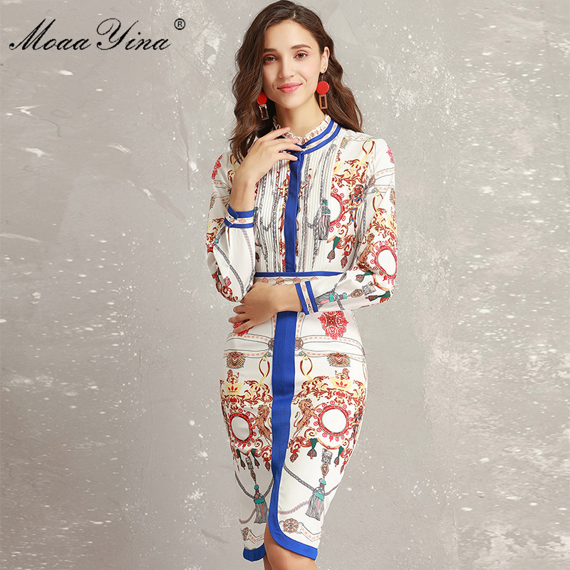 Ruché Femmes Bleu Imprimer Designer Piste Slim Paquet Volanté Manches Bande À Robe Élégante Col Moaayina Fashion Printemps Longues Hanche qFPFp