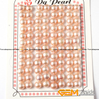 7 8mm button shape genuine pink pearl beads half drilling genuine pearl beads for earring making beads