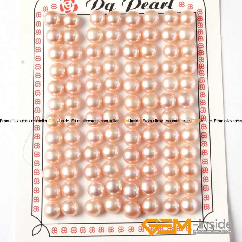 7-8mm Button Shape Genuine Pink Pearl Beads Half Drilling Genuine Pearl Beads For Earring Making Beads The Latest Fashion Beads Beads & Jewelry Making